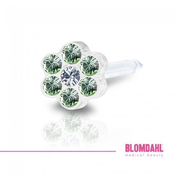 Blomdahl Kolczyk Daisy peridot/crystal 1 szt