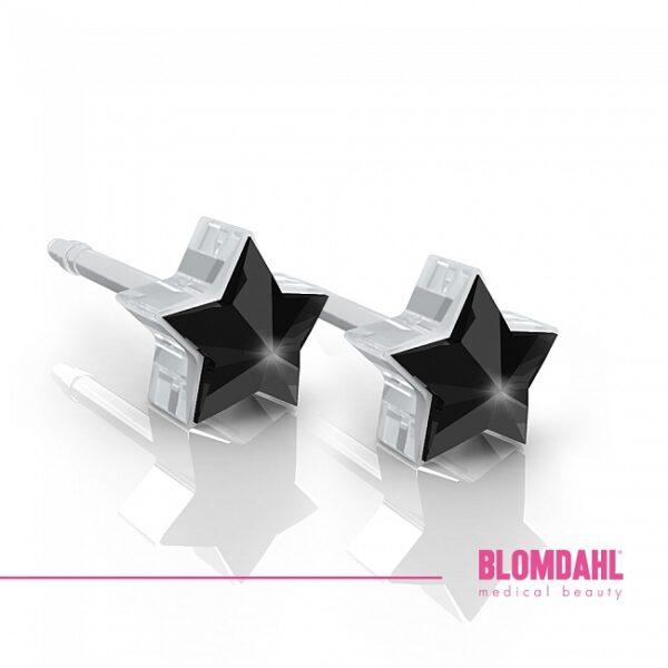 Blomdahl Kolczyki Star 6mm Jet para