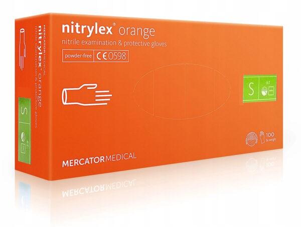 Rękawice nitrylowe bezpudrowe NITRYLEX ORANGE XS